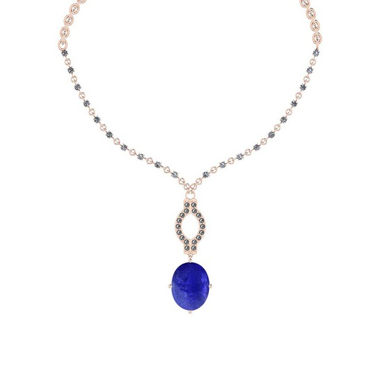 13.71 Ctw SI2/I1 Tanzanite And Diamond 14k Rose Gold Victorian Style Necklace