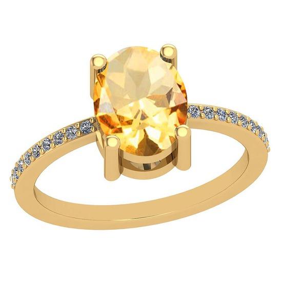 2.10 Ctw Citrine And Diamond I2/I310K Yellow Gold Vintage Style Ring