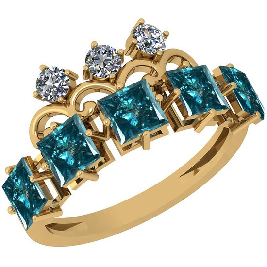 2.50 Ctw I1/I2 Treated Fancy Blue And White Diamond Platinum 14K Yellow Gold Plated Ring