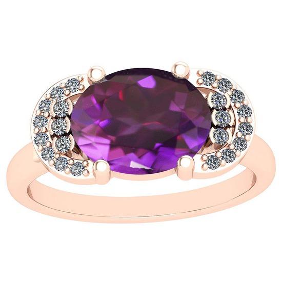 2.85 Ctw I2/I3 Amethyst And Diamond 10K Rose Gold Vintage Style Ring