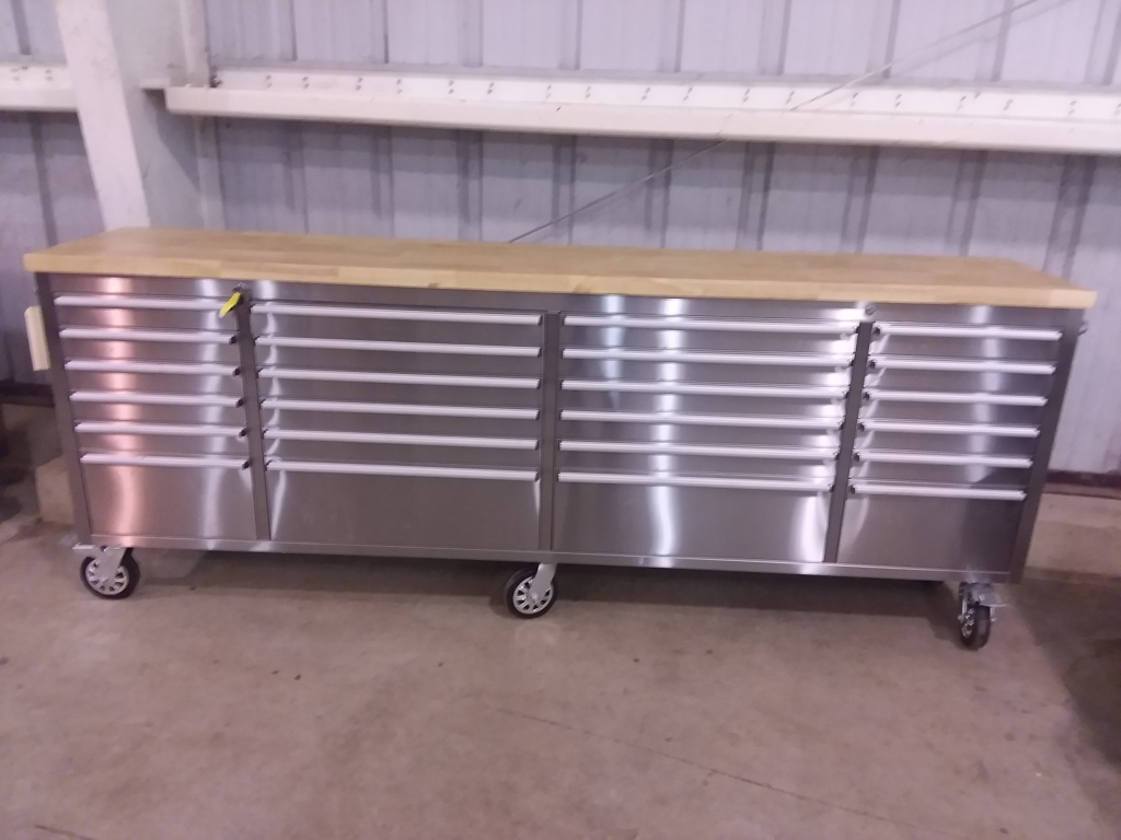 """96"""" 24 Drawer SS Tool Cabinet on Rollers"""