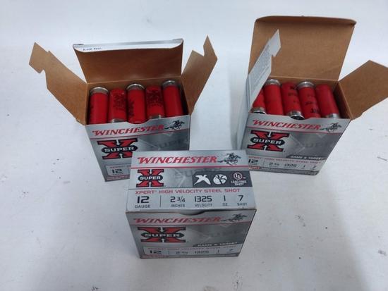 3 -25 Rnd Box Winchester 12ga 7shot Shotgun Shells