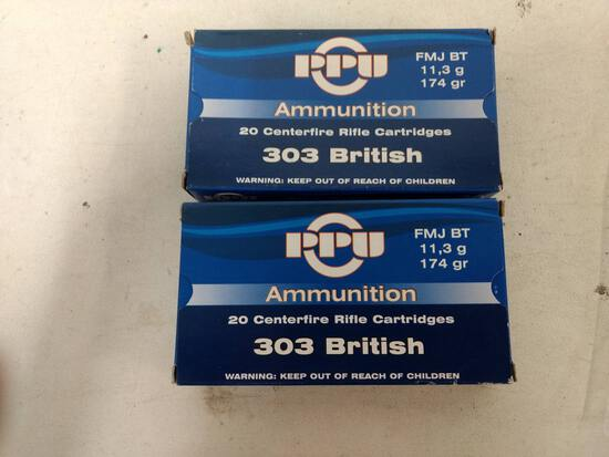 2-20 Rnd Box Ppu 303 Brit 174gr Fmj Bt