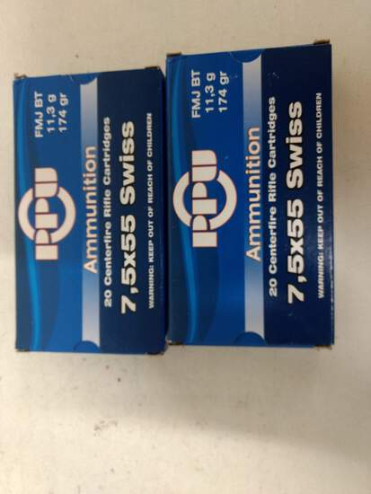 2-20 Rnd Box Ppu 7.5x55 Swiss 174gr Fmj Bt