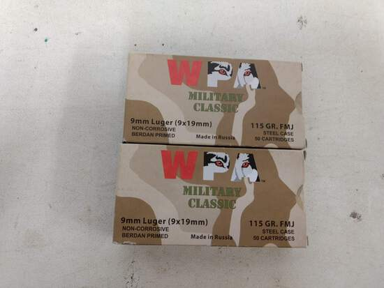 2-50 Rnd Box Wpa 9mm Luger 115gr Fmj