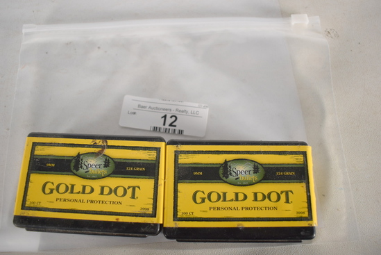 2-100 Ct Speer Gold Dot 124gr 9mm Bullets (hp)