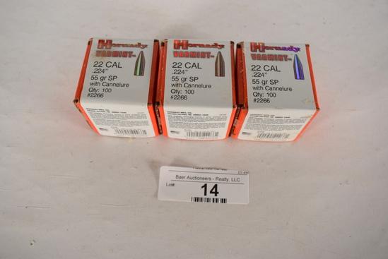 3-100 Ct. Hornady Varmint 55gr 22cal Bullets