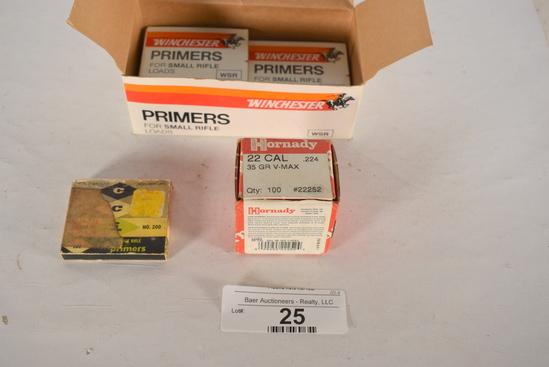 Sm & Lg Rifle Primers, Hornady 35gr V Max Bullets