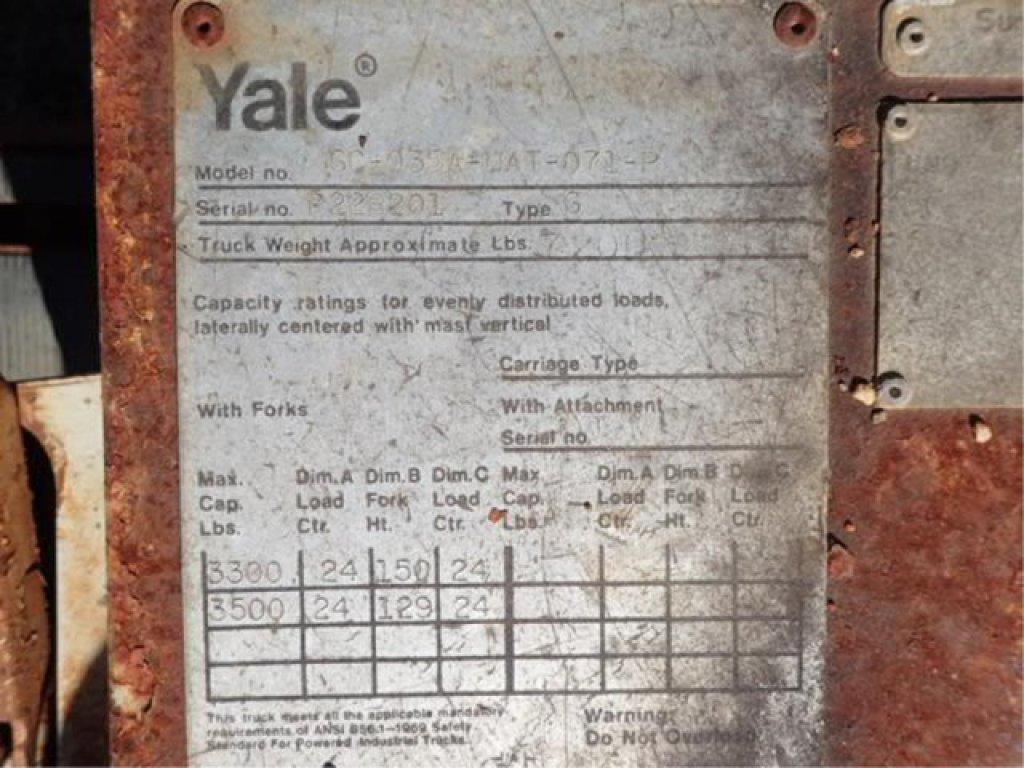 Lot: Yale Forklift Model GC-035A-UAT-071-P | Proxibid Auctions