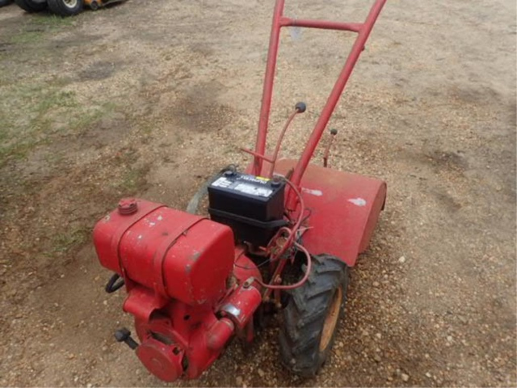 Lot: Rear Tine Tiller w/Push Blade Attachment | Proxibid