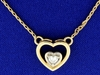 Heart Solitaire Diamond Necklace In 14k Gold