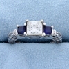 "1 Carat Princess Cut ""leo"" Diamond Engagement Ring With Sapphires In 14k White Gold"