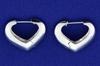 Italian Made 14k White Gold Heart Hoop Earrings