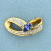 Tanzanite And Diamond Slide In 14k Yellow Gold