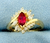 Natural Rubellite Garnet And Diamond Ring In 14k Yellow Gold