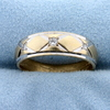 Diamond White And Yellow Gold Wedding Band Ring In 14k Gold
