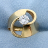 1/2 Ct Solitaire Designer Diamond Ring In 14k Yellow Gold