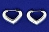 Italian Made 14k White Gold Heart Hoop Earrings