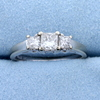 1ct Tw Three Stone Princess Cut Diamond Engagement Or Anniversary Ring In 14k White Gold