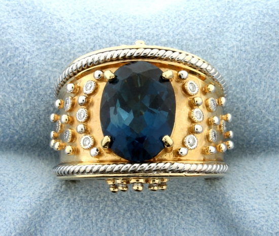 Designer Dallas Prince London Blue Topaz And Diamond Ring In 14k Gold