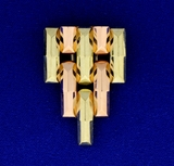 Statement Pin In 14k Rose, White, & Yellow Gold