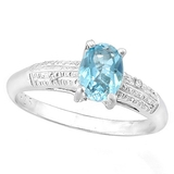 1ct Sky Blue Topaz And Diamond Ring In Sterling Silver
