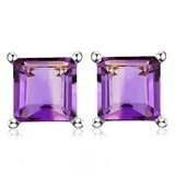 6mm Square Step Cut Natural Amethyst Stud Earrings In Sterling Silver