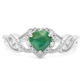 Heart Cut Emerald & Diamond Ring In Sterling Silver