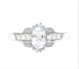 Aquamarine & White Topaz Deco Ring In Sterling Silver