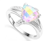 1.5ct Mercury Mystic Topaz & Diamond Ring In Sterling Silver