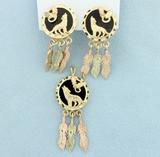Native American Dream Catcher Pendant & Earrings Set In 10k Gold