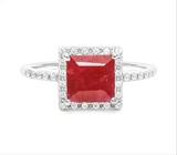 2.3ct Ruby Halo Ring In Sterling Silver