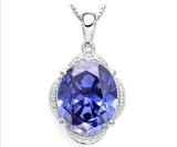 8.1ct Tanzanite & Diamond Pendant On Chain In Sterling Silver