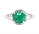 1.8ct Emerald & Diamond Ring In Sterling Silver