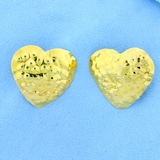 Large Hammered 18k Yellow Gold Heart Earrings