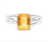 2ct Citrine & Diamond Ring In Sterling Silver