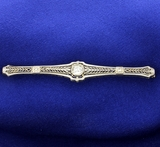 Antique Old European Cut Diamond Filigree Pin Or Brooch In 14k White Gold