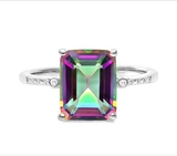 3ct Mystic Topaz & Diamond Ring In Sterling Silver