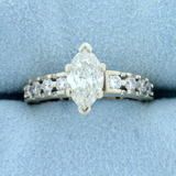 1 1/2 Ct Tw Marquise Diamond Engagement Ring In 14k Yellow Gold