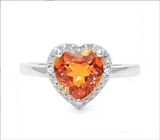 1.6ct Azotic Topaz & Diamond Heart Ring In Sterling Silver