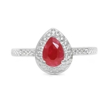 Ruby & Diamond Halo Ring In Sterling Silver