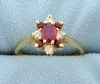 Natural Ruby And Diamond Ring In 14k Yellow Gold