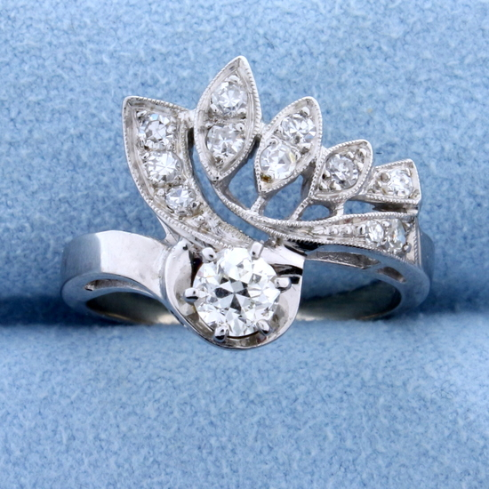 Antique 1/2 Ct Total Weight Old European Cut Diamond Ring In 14k White Gold