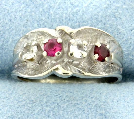 Pink Topaz, Garnet, & White Sapphire Ring In 14k White Gold