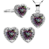 Heart Cut Mystic Topaz And Diamond Ring Earring And Necklace Set In Sterling Silver