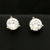 1ct Tw Diamond Stud Earrings In 14k White Gold Martini Settings