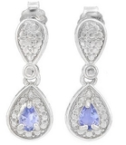 Pear Cut Tanzanite Dangle Earrings In Sterling Silver