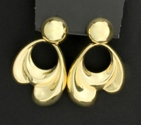 14k Large Dangle Doorknocker Style Earrings In 14k Yellow Gold
