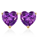 6mm Amethyst Heart Stud Earrings In 10k Yellow Gold