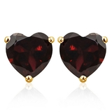 6mm Garnet Heart Stud Earrings In 10k Yellow Gold